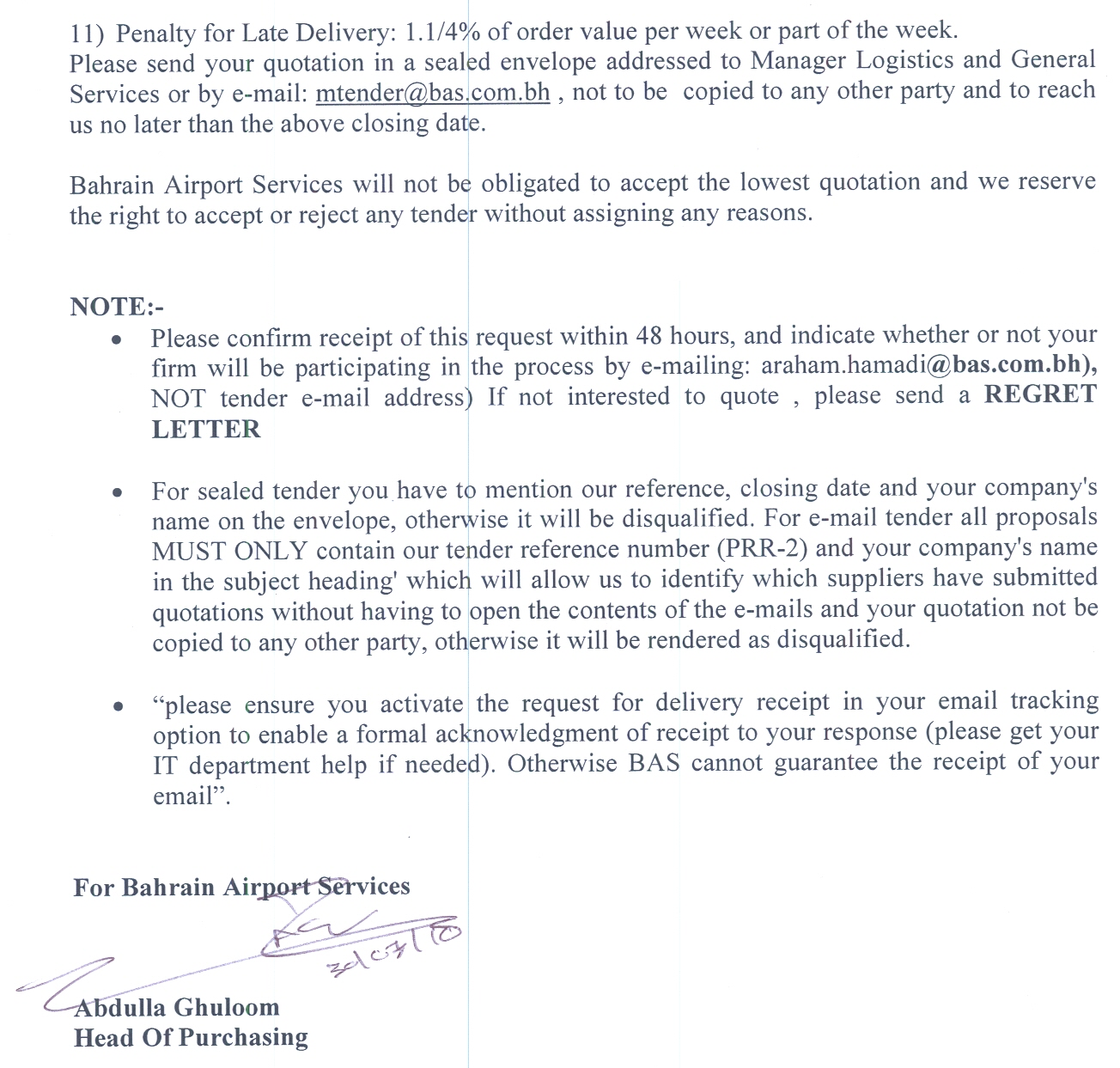 Invitation to Tender (PRR-2) #2 (1) - Bahrain Airport Services