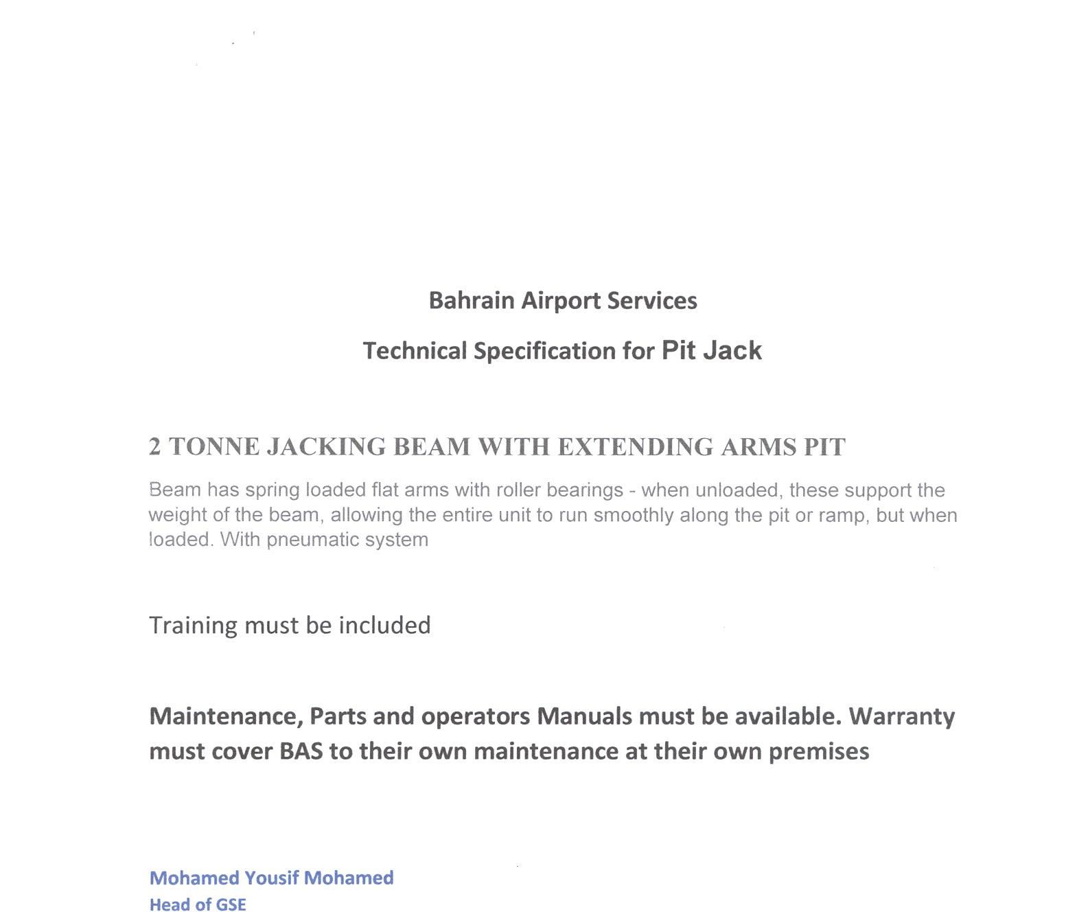 Bahrain Airport Services Open Tender Document - Bahrain